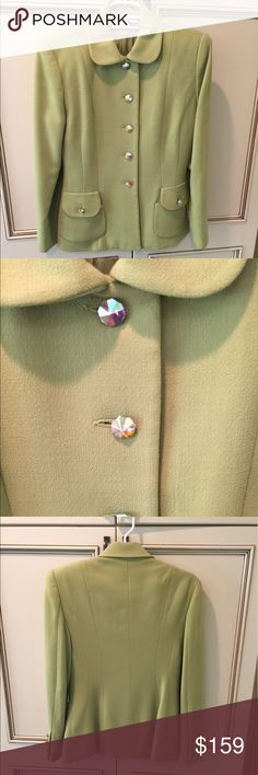 Vintage eli wacs suit from early 90s! Worn ONCE!! Absolutely gorgeous vintage ilie wacs suit in mint condition!!! Still stylish and can wear as separates... can even rock with jeans and some kick ass heels!!! Beautiful green color with iridescent buttons! Super chic! elie wacs Jackets & Coats Blazers