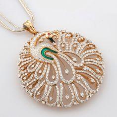Beautiful peacock diamond pendant