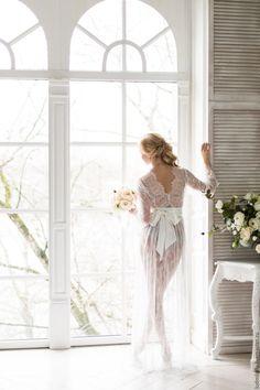 """Купить """"Предчувствие любви"""" - кружевной пеньюар для невесты - белый, цветочный, утро невесты, фотосессия невесты"""