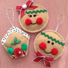Gingerbread Christmas Ornaments / Felt Gingerbread Ornaments / Set of 3 / Xmas Tree Ornaments / Gingerbread Xmas Decoration / Handmade - Women Weaves Felt Christmas Decorations, Christmas Ornament Crafts, Christmas Sewing, Felt Crafts, Christmas Crafts, Tree Decorations, Felt Diy, Homemade Christmas Gifts, Handmade Christmas