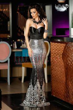 Rochie lunga sirena cu paiete argintii