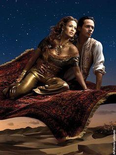 Jennifer Lopez and Marc Anthony as Jasmine and Aladdin from Aladdin by Annie Leibovitz for Disney's Dream Portrait Series