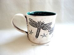 Dragonfly Ceramic Mug Large Tea Cup Handmade by YviBJonesCeramics, $48.00