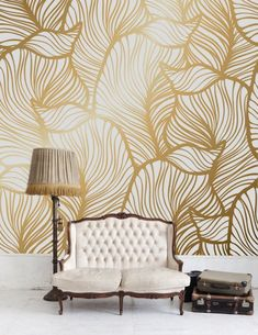 Leaf wallpaper print painting home decor wall decal image 3 Vintage Style Wallpaper, Art Deco Wallpaper, Gold Wallpaper, Peel And Stick Wallpaper, Nursery Design, Wall Design, Room Decor, Interior Design, Wall Decal
