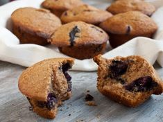 For Breakfast Blueberry Maple Bran Muffins l Once Upon A Chef Blueberry Bran Muffins, Blue Berry Muffins, Unsweetened Applesauce, Blueberry Recipes, Healthy Foods To Eat, Healthy Baking, Baked Goods, Baking Recipes, Food To Make