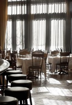 Greenwich Hotel - NYC - tall, curtained windows, I love it with the sheer curtains and then room darkening on top.