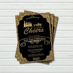 Printable New Year Cheer New Year Eve Cocktail Party Invitation. Elegant glitter holiday party invite. Black and gold. Vintage cheers. Y03 on Etsy, $15.00