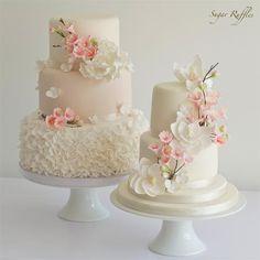 Stunners! ~ Cherry Blossom Wedding Cakes   New Cherry Blossom tutorial now on the blog***http://www.sugarruffles.com/2014/05/cherry-blossom-sugar-fl...