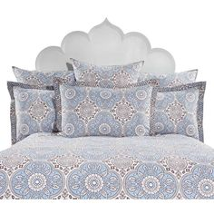 blue and brown Moroccan inspired duvet cover