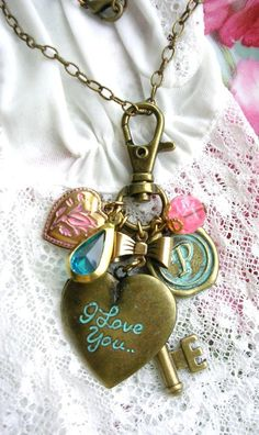 Purse Fob Pull or Necklace~ Letter P Medallion I Love You Locket Pink Flower Heart Charm Heart Key https://www.etsy.com/listing/122178650/vintage-inspired-key-to-your-heart-charm