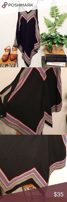 Lily White dress Super cute bohemian handkerchief black dress and multi-colored patterned trim.  It is v-neck and plunging back with asymmetrical bottom. Lily White Dresses Asymmetrical