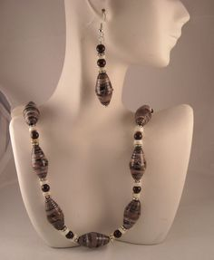 Statement Necklace Handmade Paper Beads by jewelrybypatsdesign