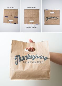 brown paper to-go bags, decorate with stamps or print from your computer - the sky is the limit with this idea.