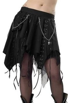 Black Punk Gothic Witchy Skirt with Ribbons