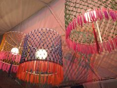 1. Learn how to macrame. 2. Learn how the hell to do these lampshades. 3. Give up and buy one.