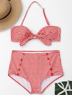 ef785bbb9b Buttons Plaid Front Tied High Waisted Bikini - Red And White S