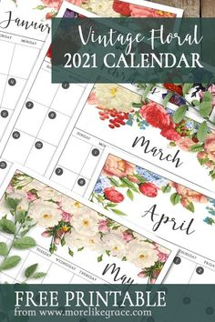 Free Printable 2021 Calendar: Vintage Floral | More Like Grace | Floral Calendar | Printable Planner Pages | Home Organization | Free Calendar | Floral Calendar | Free Planner Pages | DIY Calendar | Christmas Gifts for Her | Holiday Gifts | DIY Christmas Gift | 2021 CalendarHomemade Christmas Gifts | Digital Calendar | Downloadable Calendar | Digital Planner Pages | Vintage Florals | Floral Designs | Digital Prints | #freeprintables #2021calendar #floralcalendar