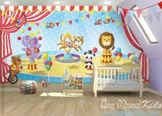 Circus Mural 7'w x 4'h. Sizes are customizable.