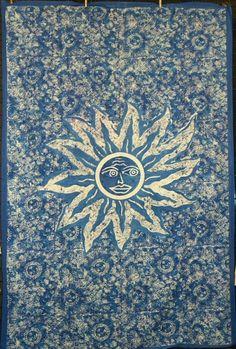 Batik Print Sun Face Tapestry Wall Hanging