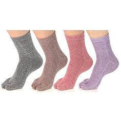 Women's Toe socks Cotton Crew Five Finger Socks For Running Athletic 4 Pack By Meaiguo * Want to know more, click on the image. (This is an affiliate link and I receive a commission for the sales) #Clothing