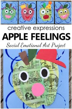 Apple Feelings Art Project-Social emotional art project with facial expressions. Apple craft for kids Apple Art Projects, Summer Art Projects, Projects For Kids, Crafts For Kids, Art Project For Kids, Social Emotional Activities, Feelings Activities, Apple Activities, Feelings Preschool