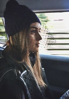a lace-topped beanie