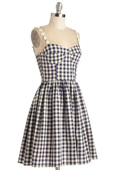 Better Check Yourself Dress. One thing youre sure of - a sunny picnic and the classic charm of this gingham frock go hand in hand.  #modcloth