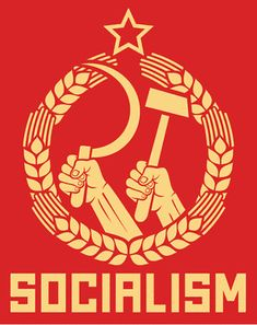 socialism poster (soviet poster, socialism poster, ussr propaganda, hands holding hammer and sickle, wreath of wheat) - stock vector Political Slogans, Political Posters, Political Art, Communist Propaganda, Propaganda Art, Stalinist, Ddr Museum, Protest Posters, Soviet Art