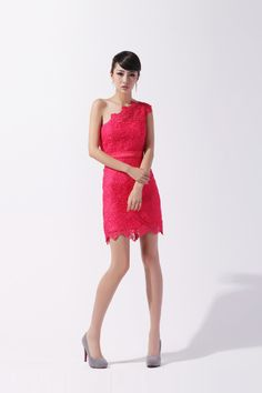 Elegant one shoulder above the knee-length lace bridesmaid dress  Read More:     http://www.weddingsred.com/index.php?r=elegant-one-shoulder-above-the-knee-length-lace-bridesmaid-dress.html