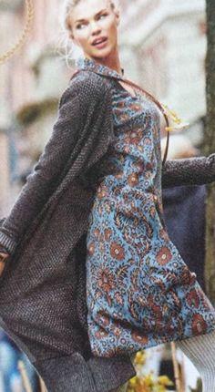 Cabi Fall 2016 Sneak Peek Oatmeal Long Sweater, Light Blue Patterned Dress with Rust Accent