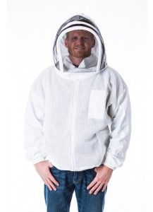 Open Front Bee Jacket with a Fencing Hood-uses ventilated material on the torso and cotton material on the sleeves and hood..  Available with fencing or round hood in sizes small to 5X.
