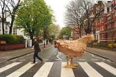 Cardboard Chicken crossing Abbey Road