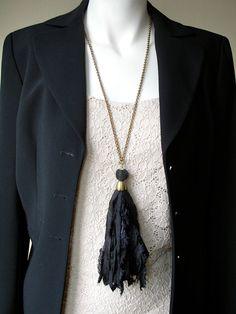 Black Sari Silk Ribbon Tassel Necklace by ClassicModernNatural