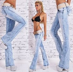 bac38af3649 Red Seventy Light Blue Acid Wash Bleached Denim Belted Bootcut Jeans  Trousers (12, Light Blue): Amazon.co.uk: Clothing
