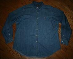 Polo Ralph Lauren Classic Fit soft Denim long-sleeve camp Shirt-Men XL-golf/work
