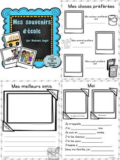 $  Mes souvenirs d'école!  End of Year Memory book pages in French