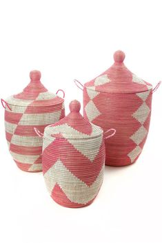 Set of Three Pink and White Mixed Pattern Hampers