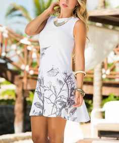 Loving this White & Black Floral A-Line Dress - Women on #zulily! #zulilyfinds