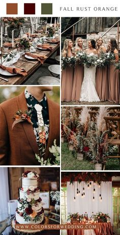 Fall rust orange wedding color ideas colors Marriage ceremony getting ready; July Wedding Colors, Orange Wedding Colors, Wedding Themes, Wedding Ceremony Ideas, Fall Wedding, Dream Wedding, Wedding Decorations, Autumn Wedding Colours, Reception