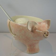 pig yarn bowl - I like the sheep one on her shop, too