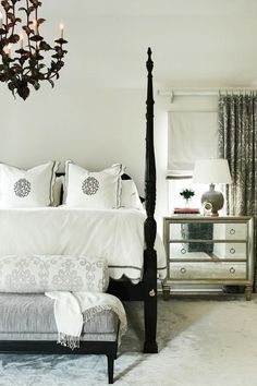 Calming bedroom - different chandelier Home Bedroom, Bedroom Furniture, Master Bedroom, Bedroom Decor, Peaceful Bedroom, Mirrored Furniture, Furniture Design, My Home Design, House Design