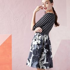 Mix it up – stripes on top and floral on the bottom make for a delightfully unexpected combo.
