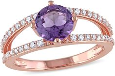 Julianna B 1 4/7 CT TW Amethyst 14K Rose Gold Solitaire Ring with Diamond Accents