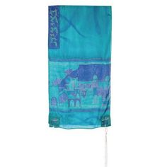Yair Emanuel Hand Painted Tallit with Jerusalem Gate in Turquoise Silk by World of Judaica. $135.00. This Yair Emanuel Hand Painted turquoise silk Tallit has a hand painted view of the Old City of Jerusalem together with its gates and comes with a matching Tallit Bag and Kippah. This majestic Yair Emanuel turquoise silk Tallit features the Old City of Jerusalem and its gates in deep shades of blue and gold edging. The sweeping view of the Holy City is surrounded ...