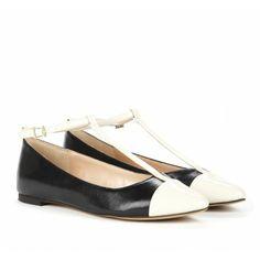 Black and Cream T-strap flats