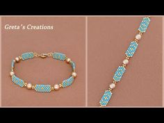DIY Beaded Bracelet with Delica Beads and Pearls. How to Make Beaded Bracelet. Beading Tutorial 串珠手链 - YouTube Making Bracelets With Beads, Beaded Bracelets Tutorial, Handmade Bracelets, Bracelet Making, Jewelry Making, Seed Bead Jewelry, Bead Jewellery, Beaded Jewelry, Beaded Earrings Patterns