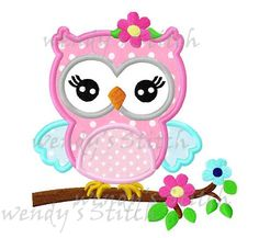 Girl owl on a flower tree machine embroidery design digital pattern design