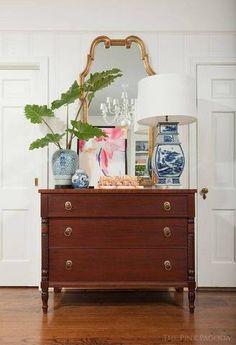 summer decor ideas brown dresser