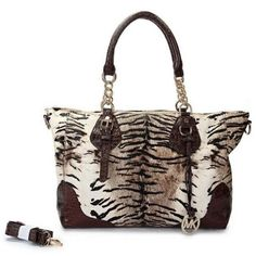 Perfect Michael Kors Darwin Tiger Tattoo Leather Large Brown Totes, Perfect You