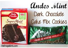 ~ What You'll Need: 1 box Betty Crocker Super Moist Dark Chocolate Cake Mix oz.} cup Vegetable or Canola Oil 2 eggs 1 bag Andes Mint Baking Chips oz.}… or chop your own like in the Andes Mint Brownies Recipe! Köstliche Desserts, Delicious Desserts, Sweet Desserts, Mint Dark Chocolate, Andes Chocolate, Andes Mint Cookies, Peppermint Cookies, Chocolate Cake Mix Cookies, Cake Mix Cookie Recipes